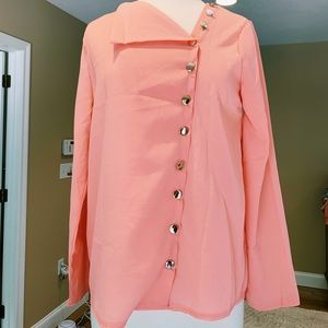 Funky Blouse with Asymmetrical Buttons